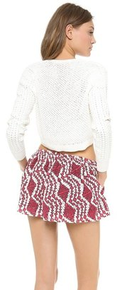 Thakoon Split Neck Cropped Pullover