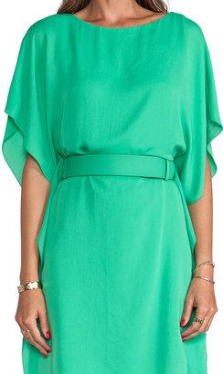 Halston Boatneck Belted Dress