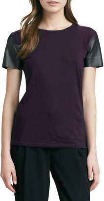 Vince Short-Leather-Sleeve Tee, Blackberry