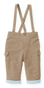 Janie and Jack Lined Twill Suspender Pant