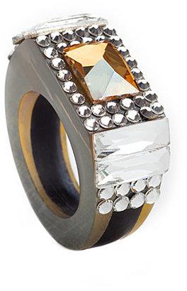 Jimmy Crystal Citrine Pyramid Stud Crystal Ring