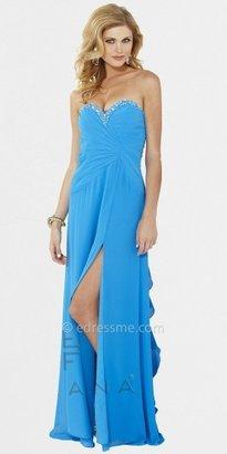 Faviana Ruffle Back Beaded Chiffon Evening Dresses