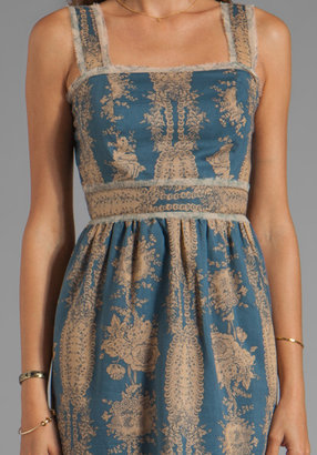 Anna Sui Wallpaper Toile Print Voile and Cupids Print Crinkle Chiffon Dress