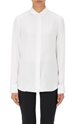 Barneys New York Women's Silk Button-Front Blouse-WHITE $350 thestylecure.com