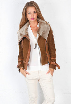 Haute Hippie Shearling Moto Jacket in Luggage