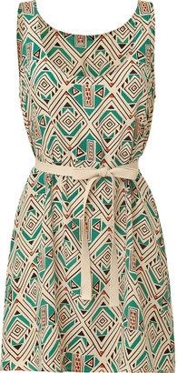 American Vintage Turquoise Diamond Print Belted Silk Dress