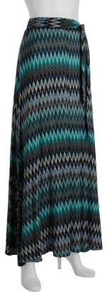 Wyatt blue zig zag print jersey flared maxi skirt