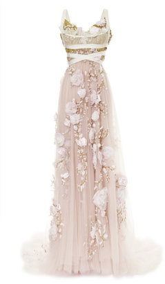 Marchesa 3D Silk Ribbon Rose Empire Waist Gown