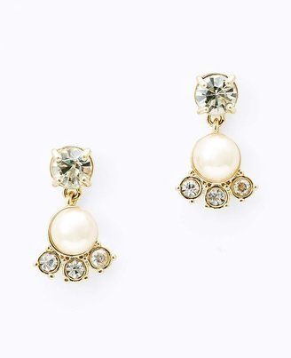 Ann Taylor Pearlized Bead and Crystal Drop Earrings