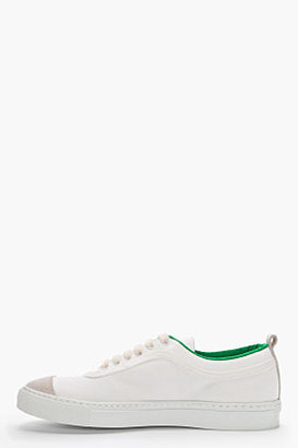 Comme des Garcons White Canvas Green-Trimmed Low-Top Sneakers