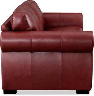Carmine Leather Loveseat