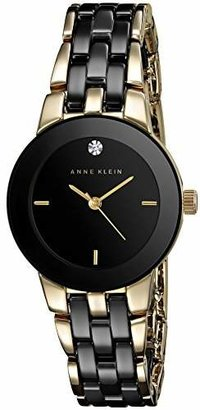 Anne Klein Women's AK/1610BKGB Diamond Dial Gold-Tone and Ceramic Bracelet Watch