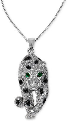 Effy Signature White and Black Diamond (3/4 ct. t.w.) and Emerald Accent Walking Panther Necklace in 14k White Gold