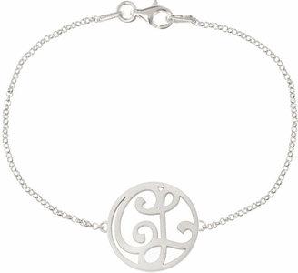 K Kane Mini 2-Initial Monogram Bracelet, Rhodium Silver