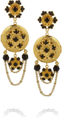 Dolce & Gabbana Gold-tone Swarovski crystal locket clip earrings