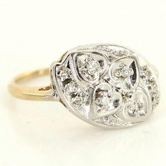 very good (VG) Estate 14 Karat Yellow White Gold Diamond Heart Cocktail Ring