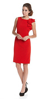 Calvin Klein Ruffle Shoulder Work Dress