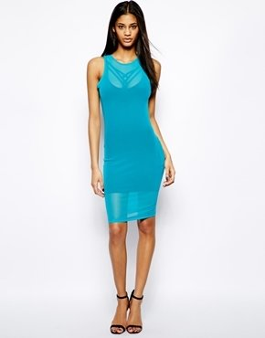 Forever Unique Selfish By Body-Conscious Dress with Strap Detail - Blue