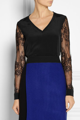 Tibi Chantilly lace-sleeved silk top