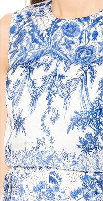 Marchesa Sleeveless Printed Organza Cocktail Dress