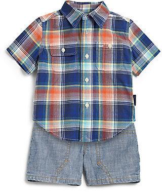Ralph Lauren Infant's Two-Piece Plaid Shirt & Denim Shorts Set