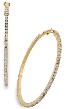 Thalia Sodi Large Crystal Pave Hoop Earrings 2.4""