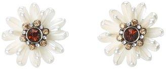 Betsey Johnson Iconic Summer Pearl Flower Stud Earrings (Pearl) - Jewelry