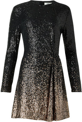 Diane von Furstenberg Savanna Sequined Long-Sleeve Short Dress