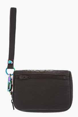 Alexander Wang Black Rubberized Leather Iridescent Large Fumo Wallet
