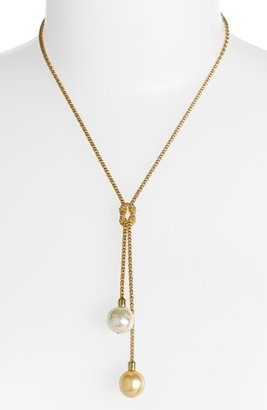 Majorica 'Love Knot' 14mm Pearl Lariat Necklace