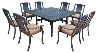 Oakland Living Vanguard 9-Piece Aluminum Stationary Square Patio Dining Furniture Set