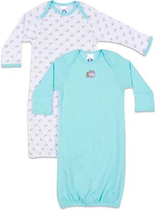 Gerber Newborn 2-Pack Sleeper Gown in White/Aqua