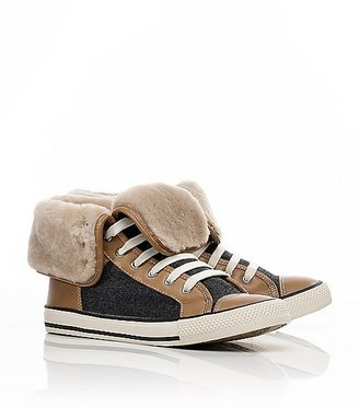 Tory Burch Benjamin Leather And Flannel High Sneaker