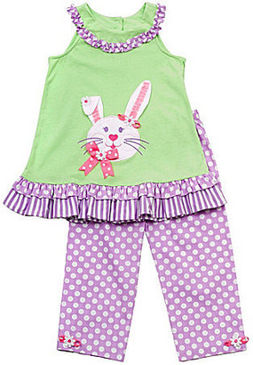 Rare Editions 2T-6X Bunny Top & Dotted Pants Set