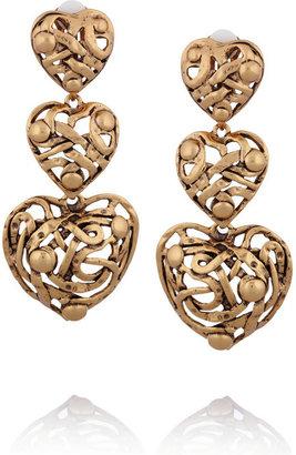 Oscar de la Renta 24-karat gold-plated tiered clip earrings