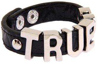 BCBGMAXAZRIA BCBGeneration - Black and Silver True Love Croco Affirmation Bracelet (Rhodium) - Jewelry