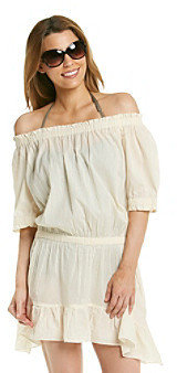 "MICHAEL Michael Kors Solid Cover Ups"" Off The Shoulder Coverup Dress"