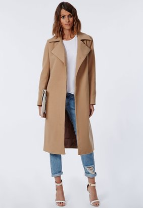 Khloe Oversized Premium Waterfall Coat Camel