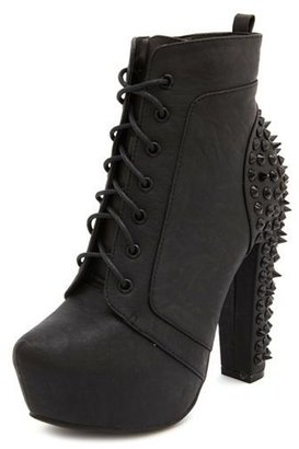 Charlotte Russe Tonal Stud Lace-Up Bootie
