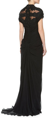 Monique Lhuillier Bead Embroidered Gathered Gown, Noir, Women's