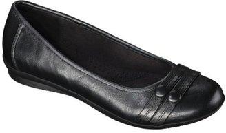 Merona Women's Maegan Comfort Ballet Flat with Buttons - Black