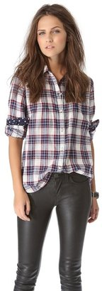 Trovata Birds of paradis by Plaid Button Down with Polka Dot Detail
