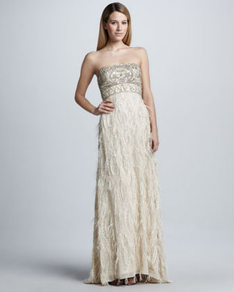 Sue Wong Strapless Feather-Trim Gown