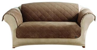 Sure Fit Sherpa/Soft Suede Love Throw-Cocoa/Cream