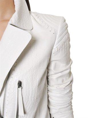 Roberto Cavalli Crocodile Embossed Nappa Leather Jacket