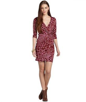 Julie Brown JB by red crackle 'dixon' deep-v faux wrap dress
