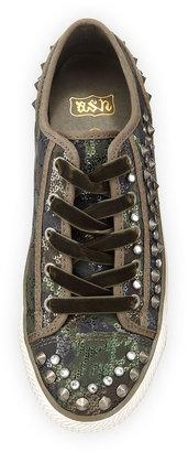 Ash Vox Embellished Velvet Sneaker, Camouflage