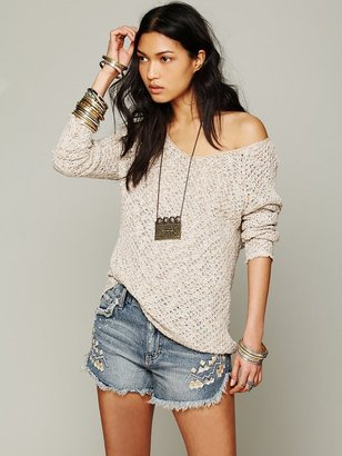 Free People Lace Back Oversized Pullover