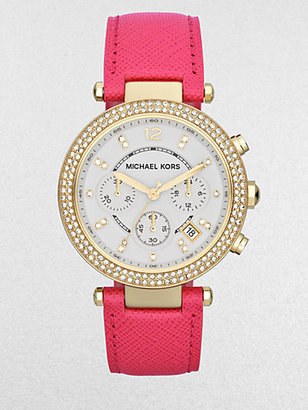 Michael Kors Crystal & Goldtone Stainless Steel Chronograph Watch/Pink