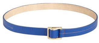 Vince Camuto cobalt grained leather stitched double sliding buckle belt